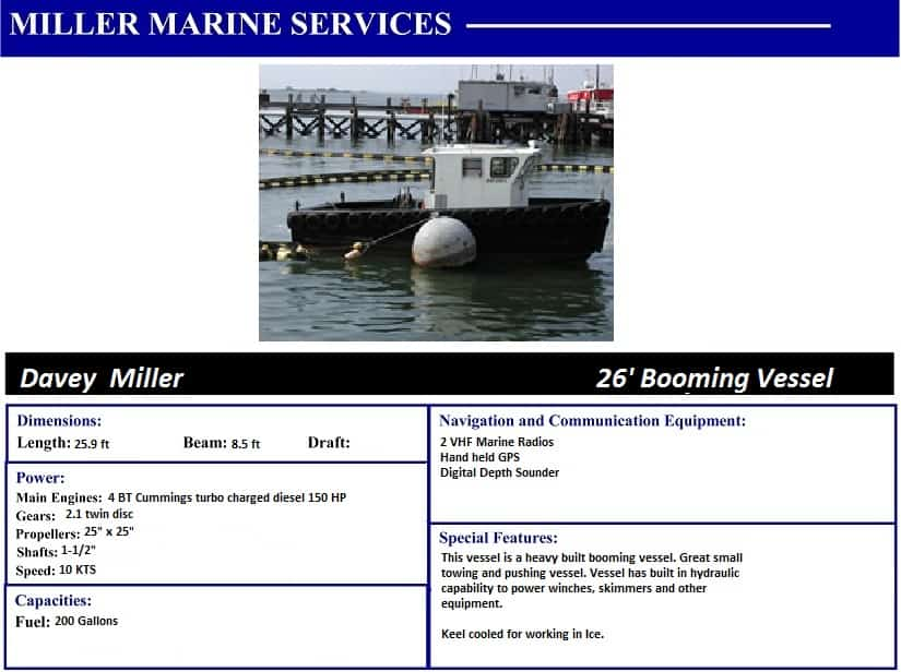 Davey Miller 26' Booming Vessel with Miller Marine Services