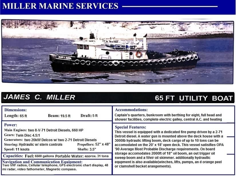 James Miller 65' Utility Boat with Miller Marine Services