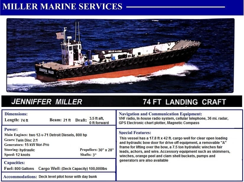 Jennifer Miller 74' Landing Craft with Miller Marine Services