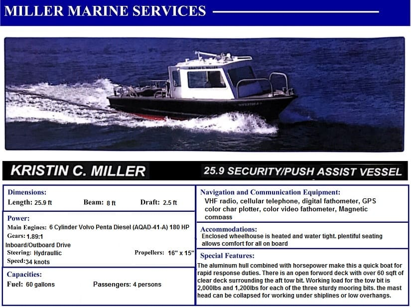 Kristin Miller 25.9' Security Push/Assist Vessel with Miller Marine Services