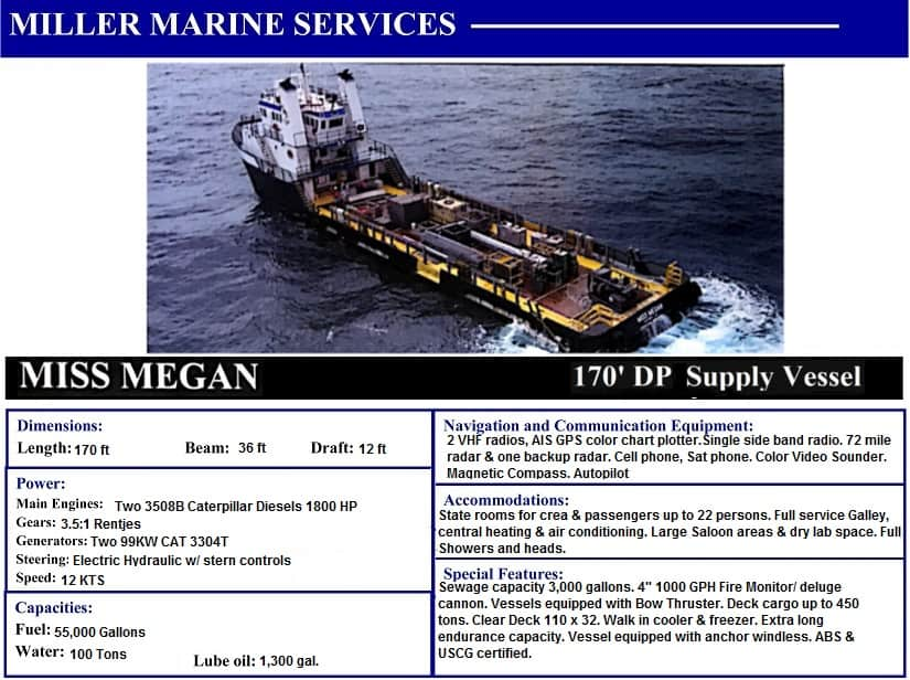 Miss Megan 170' Utility Boat with Miller Marine Services