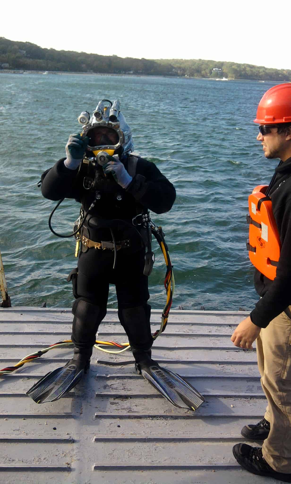 Diver Getting Ready Off Bow Door with Miller Marine Services