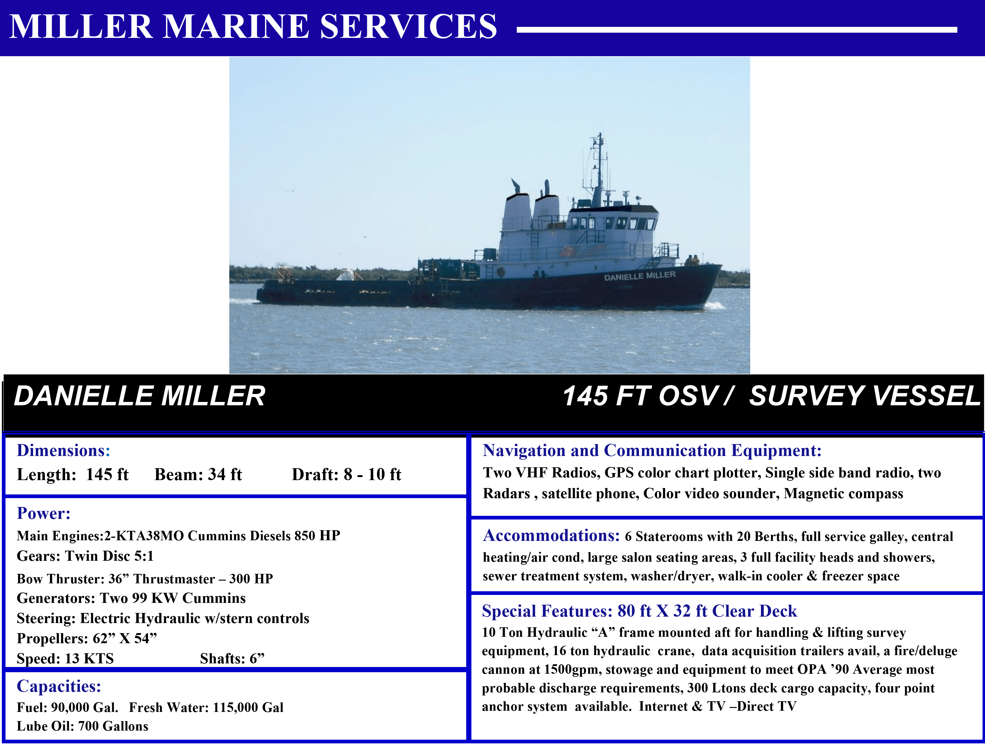 Danielle Miller 140' Survey Vessel with Miller Marine Services